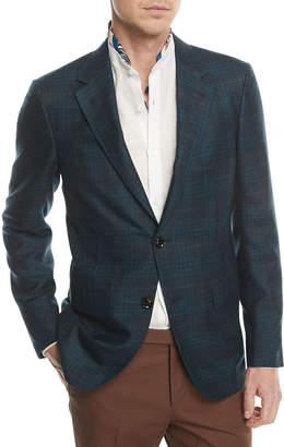 Ermenegildo Zegna Textured Check Cashmere Hemp Sport Coat