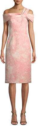 Rickie Freeman For Teri Jon Off-One-Shoulder Jacquard Cocktail Dress
