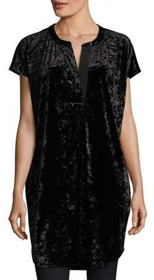 Joan Vass Crushed Stretch Velvet Relaxed Cap-Sleeve Tunic, Petite