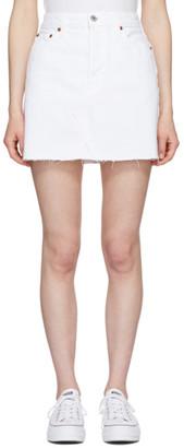 RE/DONE White High Waisted Denim Miniskirt