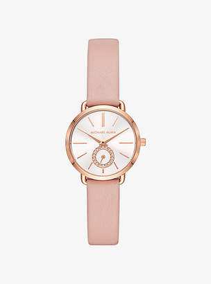 Michael Kors Petite Portia Rose Gold-Tone Leather Watch