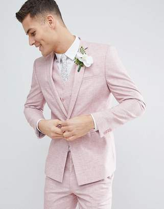 Hatch ASOS DESIGN Wedding Skinny Suit Jacket In Pink Cross With Printed Lining