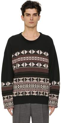 Maison Margiela Reverse Wool & Cotton Jacquard Sweater