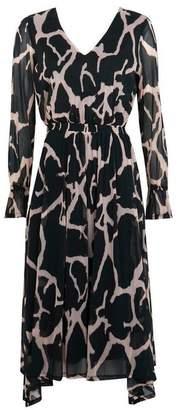 Wallis PETITE Black Animal Print Midi Fit and Flare Dress