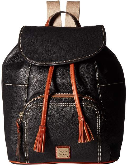 Dooney & Bourke Pebble Large Murphy Backpack Backpack Bags - BLACK/TAN TRIM - STYLE