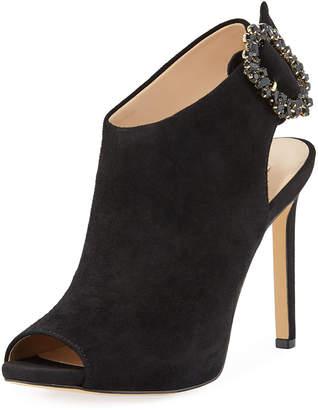 Karl Lagerfeld Paris Kimber Jeweled-Buckle Suede Sandals