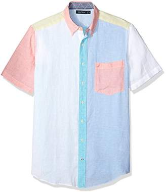 Nautica Men's Big and Tall Short Sleeve Classic Fit Solid Linen Button Down Shirt