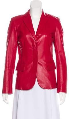 DKNY Leather Notch-Lapel Jacket