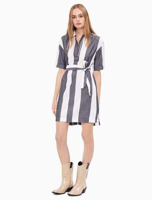 Calvin Klein striped tie belt popover dress