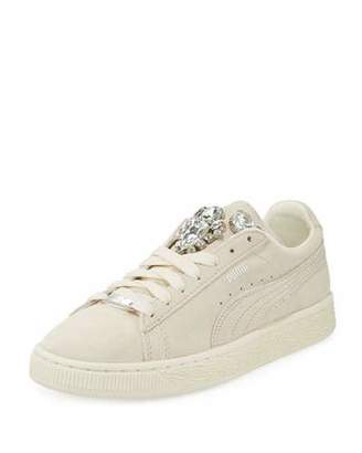 Puma Clyde Basket Jeweled Sneaker, Whisper White $120 thestylecure.com