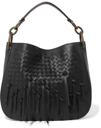 Bottega Veneta Small Fringed Intrecciato Leather Tote - Black