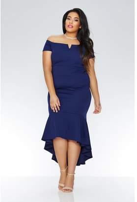 Quiz Curve Navy Crepe Bardot Dip Hem Maxi Dress