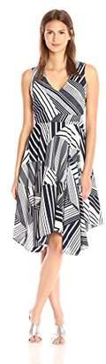 Julia Jordan Women's V Neck Slvless Fitflare Stripe