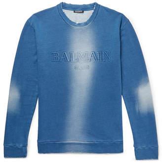 Balmain Slim-Fit Distressed Logo-Embossed Loopback Cotton-Jersey Sweatshirt