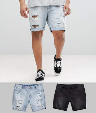 Asos DESIGN PLUS Denim Shorts In Slim Washed Black & Light Wash With Heavy Rips