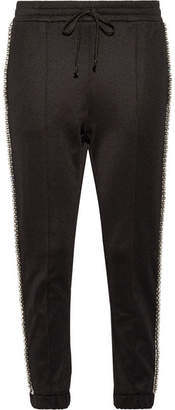 Gucci Swarovski Crystal-embellished Striped Tech-jersey Track Pants - Black