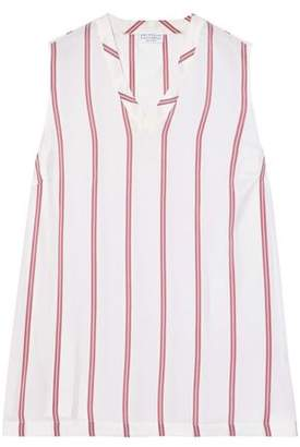 Brunello Cucinelli Striped Silk-Satin Top