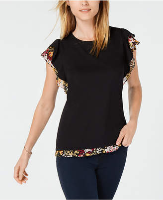 Maison Jules Layered-Look Chiffon-Print Sleeve Top, Created for Macy's
