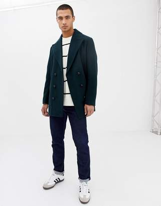 Asos DESIGN wool mix double breasted jacket in dark green