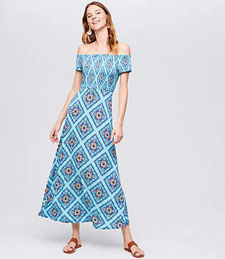 LOFT Beach Smocked Off The Shoulder Maxi Dress