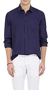 Vilebrequin Men's Solid Slub-Weave Shirt - Navy