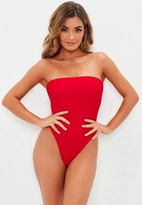 Missguided Red Bandeau Bow Back High Leg Swimsuit