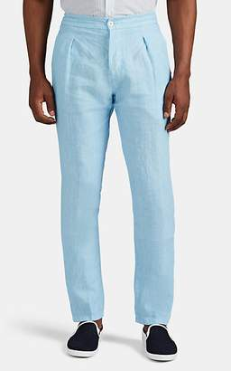 Marco Pescarolo Men's Chiaia Washed Linen Drawstring Trousers - Lt. Blue