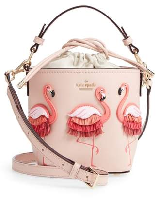 Kate Spade By The Pool - Flamingo Pippa Leather Bucket Bag