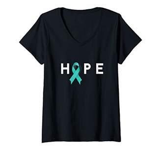 Womens Ovarian Cancer Awareness Shirt Teal Ribbon V-Neck T-Shirt