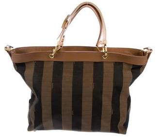 Fendi Pequin Leather-Trimmed Tote