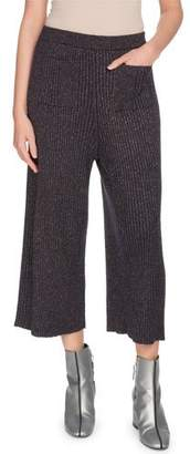 Kenzo Ribbed Metallic Pull-On Culotte Pants
