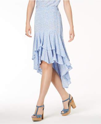 One Hart Juniors' Printed Ruffle High-Low Skirt, Created for Macy's
