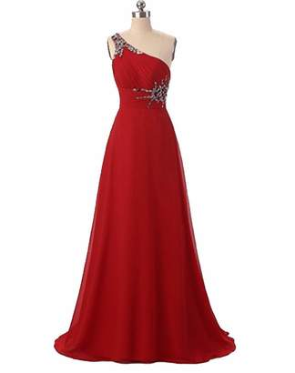7ff34630118 Angela One Shoulder Ombre Long Evening Prom Dresses Chiffon Wedding Party  Gowns BlackRed