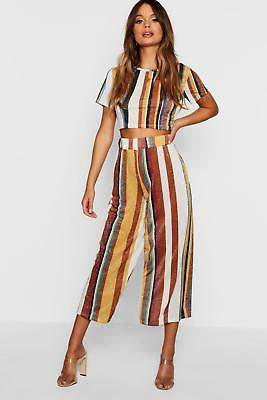 boohoo NEW Womens Knitted Cropped Stripe Metallic Set in Viscose