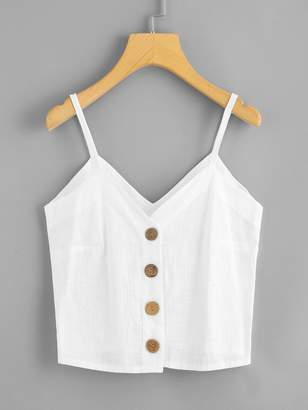 Shein Plus Button Front Solid Cami Top