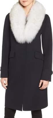 Derek Lam 10 Crosby Wool Blend Reefer Coat with Genuine Fox Fur Trim