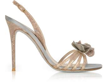 Rene Caovilla Rose Gold Karung Leather and Silk High Heel Sandals