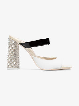 Sophia Webster Black and White Andie 100 Leather Mules