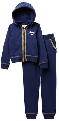Juicy Couture Navy Foil Heart Fleece Hoodie & Pants Set (Little Girls)