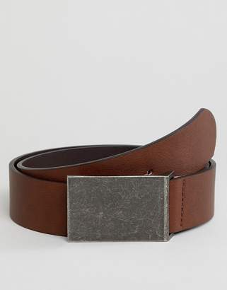 Asos Design DESIGN faux leather wide belt in brown with burnished plate buckle