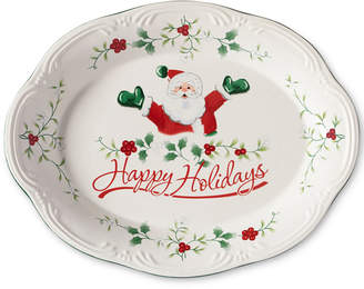 "Pfaltzgraff Winterberry Happy Holidays Santa 11"" Oval Stoneware Platter"