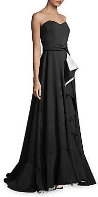 Badgley Mischka Women's Strapless Scuba Ruffle Wrap Gown - Size 0