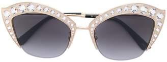 Gucci eyebrow crystals applique sunglasses