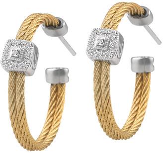 Alor Classique 18K Stainless Steel Diamond Hoop Earrings