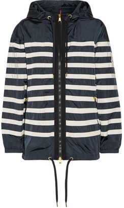 Moncler - Hooded Striped Shell Jacket - Midnight blue $805 thestylecure.com