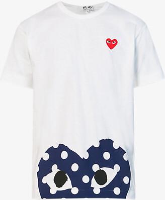 Comme des Garcons Polka-dot logo-print cotton-jersey T-shirt