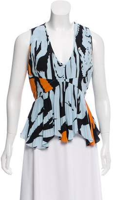 Christian Dior Silk Pleated Sleeveless Top