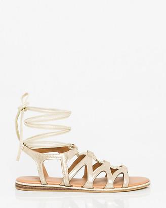 9a4220198077d Le Château Leather-Like Ghillie Tie Gladiator Sandal