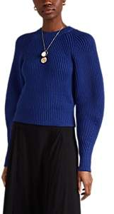 Derek Lam Women's Chunky-Knit Cotton-Blend Puff-Sleeve Sweater - Peacock