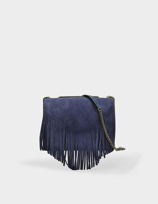 Gerard Darel Lucky Bag in Navy Velvet Calfskin